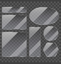 transparent glass frames photo realistic set vector image