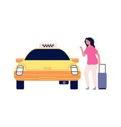 Traveller and taxi road to airport young woman vector
