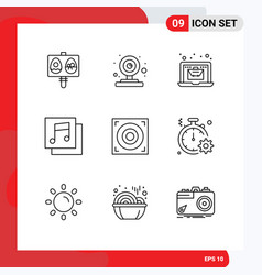 Universal icon symbols group 9 modern outlines vector