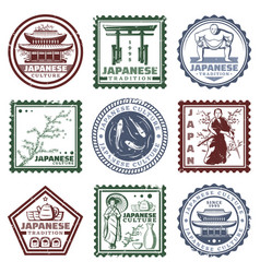 Vintage colored japan stamps set vector