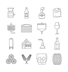 whisky bottle glass icons set outline style vector image