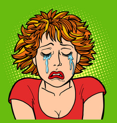 woman crying human emotions vector image