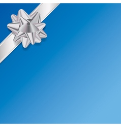 Blue Present Background with Silver Ribbon and Bow vector image vector image