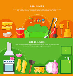cleaning tools banners set vector image vector image