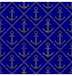 golden anchors seamless pattern on blue background vector image