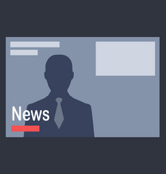 news with man silhouette on dark grey background vector image vector image