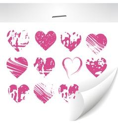 set of grunge hearts vector image