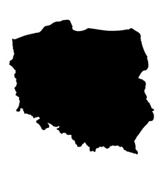 black silhouette country borders map of poland on vector image vector image
