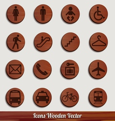 Dark wooden icon set with different signs vector image vector image