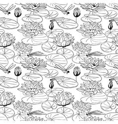 pattern with a water lily vector image