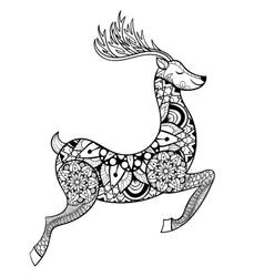 Zentangle Reindeer for adult anti stress vector image