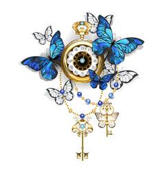 Antique clock with butterflies morpho vector