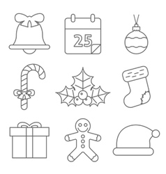 Christmas Icons Line vector image vector image