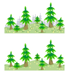 Horizontal seamless border with forest in summer vector image