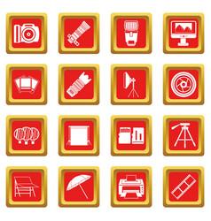 Photo studio icons set red vector