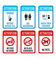 Pool signs set 2 vector image