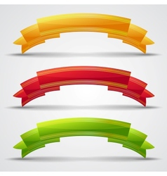 Set of 3 curled ribbons vector image vector image