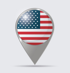 usa flag pointer map location glossy design vector image