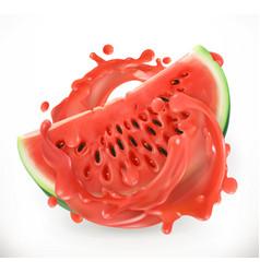 watermelon juice fresh fruit 3d realism icon vector image vector image