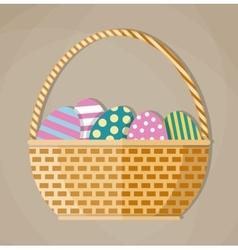 Basket full of colored Easter eggs vector image vector image