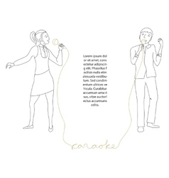 Couple singing into microphone vector image vector image