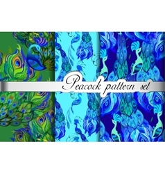 Green blue peacock feathers abstract seamless vector image