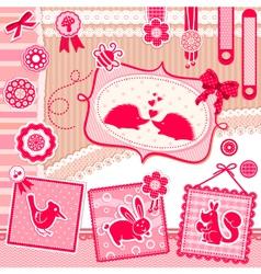 romantic scrapbooking set vector image vector image
