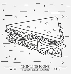 thin line icon sandwich For web design and vector image vector image