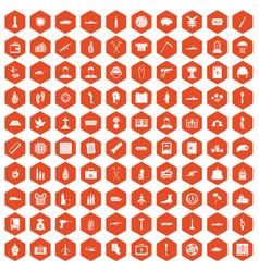 100 war crimes icons hexagon orange vector