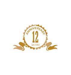 12 years ribbon anniversary vector