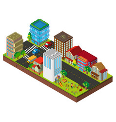 3d design for city street with buildings vector image