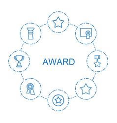 8 award icons vector