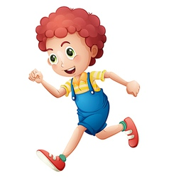 A curly young boy running vector