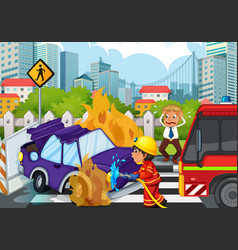 Accident scene with fireman and car on fire vector