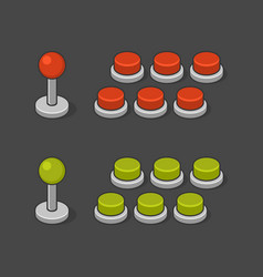Arcade game machine buttons and joystick set vector