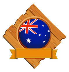australia flag on round button with banner vector image