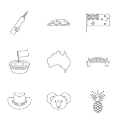 Australia travel icon set outline style vector