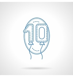 Balloon numbers blue line icon vector image