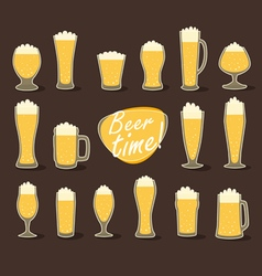 Beer in glass pint of flat icon set vector