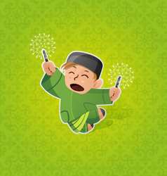 Boy celebrating Hari Raya Aidilfitri vector