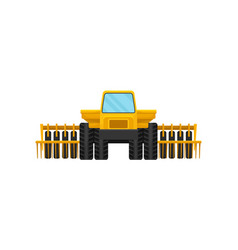 Bright yellow harvester front view heavy vector