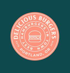 burger logo retro styled fast food emblem badge vector image