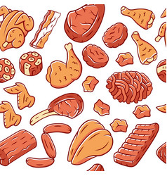 butchers meat seamless pattern pork beef poultry vector image