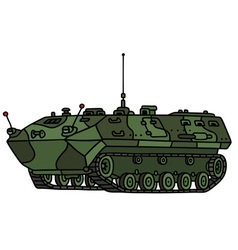 Camouflage track troop carrier vector image