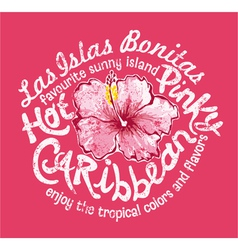 Caribbean island with hibiscus vector