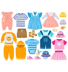 Cartoon baby kids girl and boy clothes hats vector