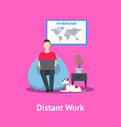 cartoon distant work in home card poster vector image