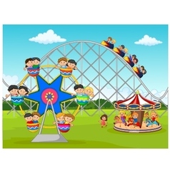 Cartoon little kid in the carnival festival vector image