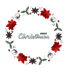 christmas wreath with green lettering vector image