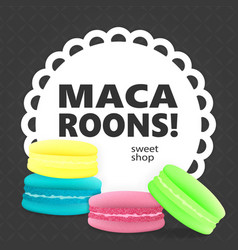 Colorful macaroons on a gray background vector